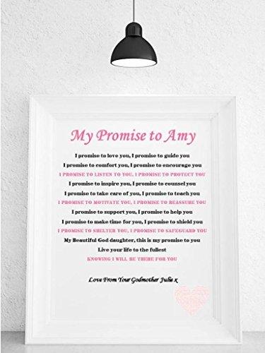 Personalised Godchild Poem Framed Canvas Gift
