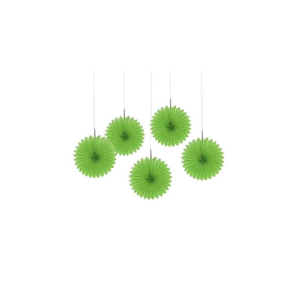 Green Mini Paper Rosette Fans   Baby Shower Decorations   Set of 5
