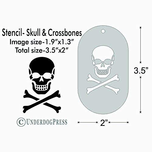 Stencil - Skull and Crossbones, Image Size 1.9x1.3 on 3.5x2 Border ()