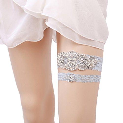 Eliffete Blue Bridal Lace Garter Set With Rhinestones For Bride Toss Away Garter
