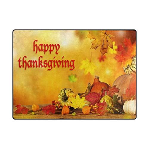 Area Rug Carpet Happy Thanksgiving Harvest Pumpkin Soft Non-Slip Runner Mat 4'x6', Indoors/Bedroom/Living/Dining/Kitchen Floor Mats,8mm High Pile Height,Rectangular