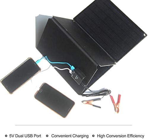 Hylotele 40W 5V 12V Solarpanel Polykristalline Silizium-Solarzelle mit Zwei USB-Krokodilklemmen Zigarettenanzünder DIY Wasserdichtes Camping Portable Power Solarpanel Kompatibel für Car Boat Marine S