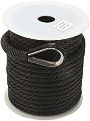 NovelBee 3/8 Inch Premium Solid Braid MFP Anchor Line Anchor Rope with Stainless Steel Thimble