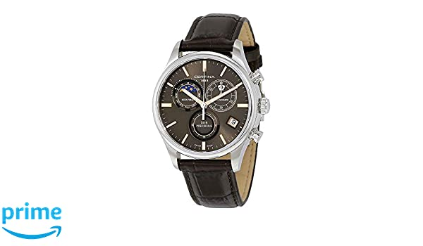 Amazon.com: Certina Mens DS-8 Moon Phase 42mm Brown Leather Band Steel Case Quartz Grey Dial Watch C033.450.16.081.00: Certina: Watches