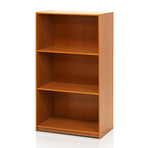 Furinno 99736LC Basic 3-Tier Bookcase Storage Shelves, Light Cherry -
