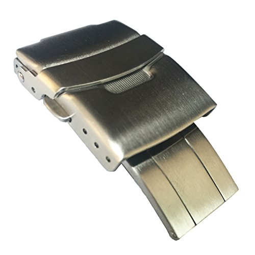 LEESTING Brushed Stainless Steel Deployment Clasp for H-Link Shark Mesh Band or Silicone Leather Strap (22mm, StyleA)