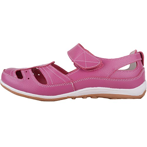 Absolute Footwear Womens Casual Leather Summer/Holiday Shoes with Ripper Strap Fastening Raspberry vXEjYYjv6d