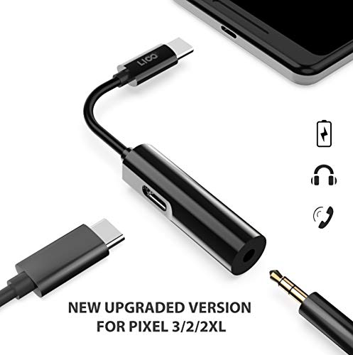 USB Type C Audio Charge Headphone Adapter, 3.5mm Audio Hi-Res Chip Fast Charging Compatible with iPad pro Pixel 3/2 XL Razer Phone, Samsung Huawei Mate 20 - Hi Res Lighter