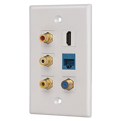 IBL- 6 port Wall Plate with 3 RCA+F coaxial cable TV+Cat6 ethernet+HDMI female to female in White