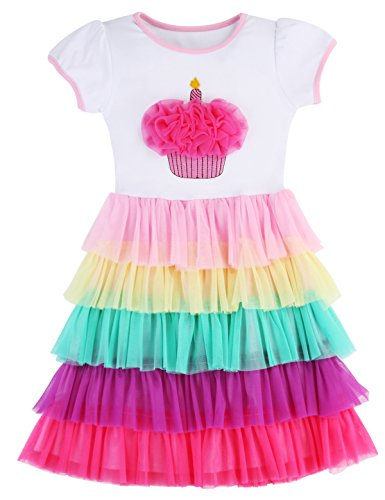 PrinceSasa Elegant Girls Clothing Unicorn Rainbow Party White Cupcake Short Sleeve Summer Dress for Princess Toddler Birthday Outfits Dress,Cake,3-4 Years(Size 110) -