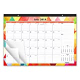 2019-2020 Academic Year Monthly Desk Pad Calendar, Ruled Blocks, 16-3/4 x 11-4/5 Inches, Geometric Colorful