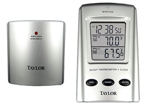Taylor WeatherGuide Wireless Indoor/Outdoor Thermometer with Programmable Temperature Alert, Model 1542 -