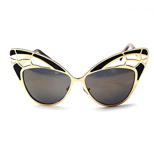 VeBrellen Women Butterfly Shape Cat Eye Sunglasses Luxury Hollow Out Design Colorful Eyewear For Party/Prom (Gold Frame With Gold Lens,C4, (Butterfly Sunglasses)