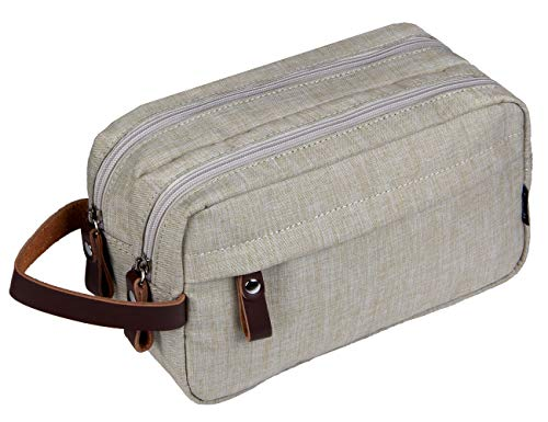 Men's Travel Toiletry Bag Dopp Kit - Dual Compartments with Handle (Beige)