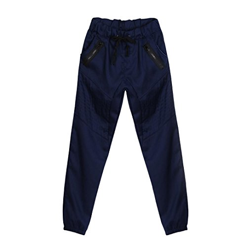 IEason-pants Men Sweatpants Slacks Casual Elastic Army Solid Baggy Pockets Zipper Trousers