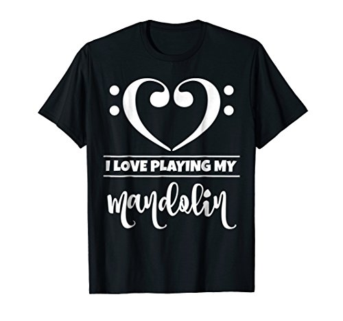Double Bass Clef Heart I Love Playing My Mandolin T-Shirt