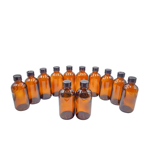 U-Pack 4 oz Amber Glass Boston Round Bottles With Black Ribbed Cap - 12 (Round Glass Bottle)