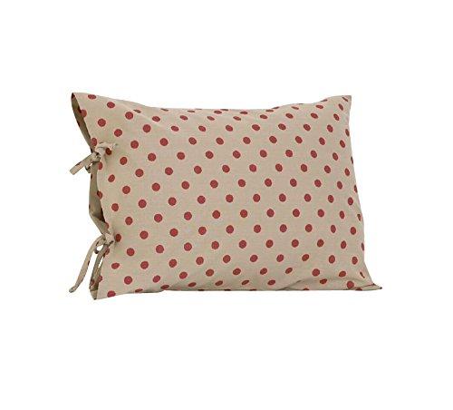 Cotton Tale Designs Dot Plain Pillow Case with Ties, (Raspberry Design)