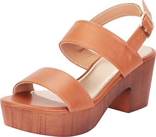 (Cambridge Select Women's Retro 70s Clog Chunky Platform Block Heel Sandal,7.5 B(M) US,Tan PU)