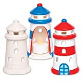 Baker Ross Lighthouse Ceramic Tealight Holders (Box of 4) for Children to Paint Decorate and Display - Creative Summer Porcelain Craft Set for Kids