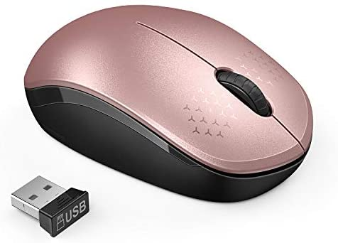 Wireless Mouse, 2.4G Noiseless Mouse with USB Receiver - seenda Portable Computer Mice for PC, Tablet, Laptop, Notebook - Rose Gold&Black