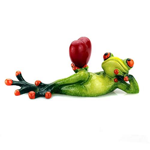 (CuteFrogs 3D Creative Green Frog Funny Resin Statues Green Frog Figurine Statue Animal Decor for Kids Gift Sports Yoga Frog (1 Pack, Love Lady))