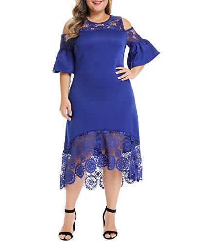 Lalagen Womens Plus Size Lace Cold Shoulder Flare Cocktail Party Midi Dress Blue XXL (Xxl Midi Dress)