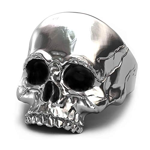 (EVBEA Skull Rings for Men Big Biker Rock Mens Motorcycle Jewelry (White Gold, 9.5) )
