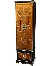 Oriental Furniture Gold Leaf Floor Jewelry Armoire