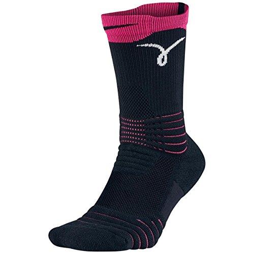 Nike Kay Yow Elite Versatility Crew Basketball Sock Black/Vivid Pink/White Size Large