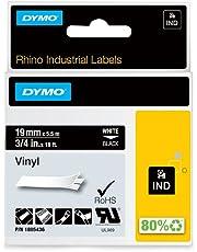 Dymo Rhino Tape, 3/4-Inch, 19mm Vinyl Label Cassette, Black (1805436)