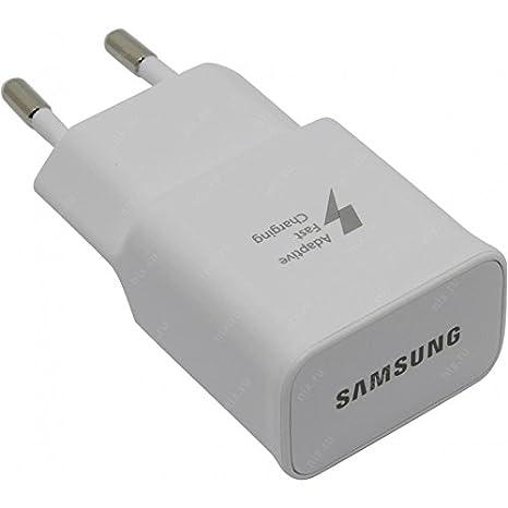 Samsung Cargador Rápido EP-TA20EWE 2A - Para Samsung Galaxy A5, A5 2016, A5 Edge, S6, S6 Edge, S7, S7 Edge y Note 4 USB 2.0 a micro USB, color blanco