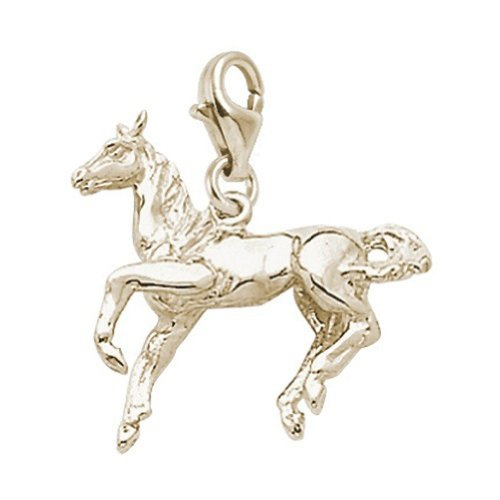 14K Yellow Gold Horse Charm With Lobster Claw Clasp, Charms for Bracelets and Necklaces ()