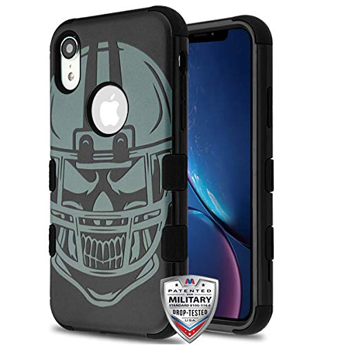 Football Helmet/Black TUFF Hybrid Protector Cover [Military-Grade Certified](with Package) for Apple iPhone XR