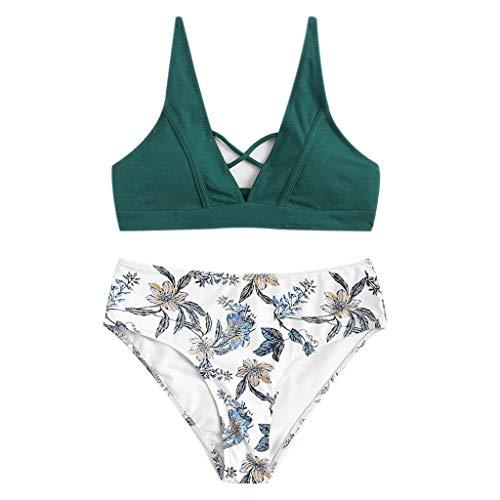 Zlolia Women's Floral Print Brazilian Bikini 2Pcs Slings Bare with Chest Pad Push-Ups High Waist Swimsuit& Panties Green ()