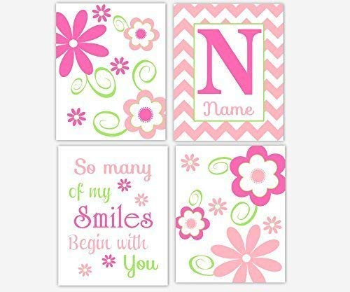 Girl Nursery Art Flowers Hot Pink Lime Green Floral Wall Prints Personalize Monogram Name Chevron Quotes Sayings Floral Home Baby Nursery Decor SET OF 4 UNFRAMED PRINTS