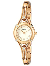 GUESS Women's U0135L2 Petite Gold-Tone Watch with White Dial , Crystal-Accented Bezel and Stainless Steel G-Link Band