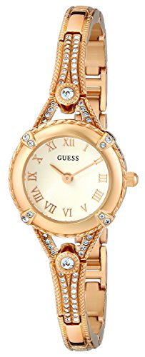 GUESS-Womens-U0135L2-Petite-Gold-Tone-Watch-with-White-Dial-Crystal-Accented-Bezel-and-Stainless-Steel-G-Link-Band