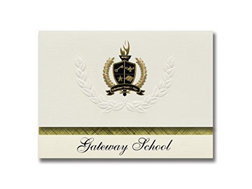 Signature Announcements Gateway School (Joplin, MO) Graduation Announcements, Presidential style, Basic package of 25 with Gold & Black Metallic Foil - Styles Mo Joplin