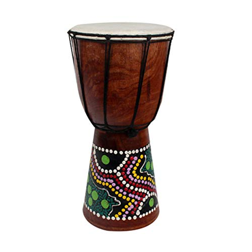 Doumbek Wood - 4 Inch African Djembe Percussion Hand Drum Mahogany Wooden Jambe Doumbek Drummer with Pattern Pure Goat Skin Surface
