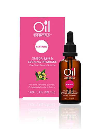 Oil Essentials Revitalize Evening Primrose Beauty Solution - Natural Healing Oil for Face, Skin, Hair, and Nails - Free of Parabens, Sulfate, Phthalate, and Synthetic Color 1.69 fl oz (50ml) (Benefits Of Evening Primrose Oil On Face)