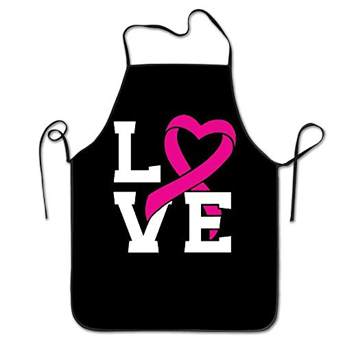 amiuhoun LOVE Pink Ribbon Breast Cancer Awareness Women Men Kitchen Bib Apron Bakery Manicure Store With Adjustable Neck Chef's Apron ()