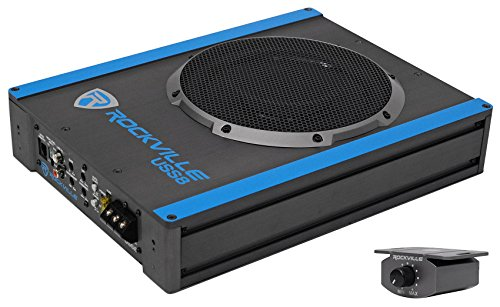 Rockville USS8 8″ 600w Slim Under-Seat Active Powered Car/Truck Subwoofer Sub