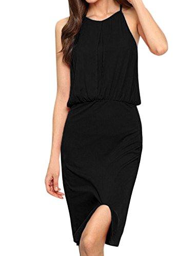 sourcingmap Mujer pliegue invertido Con abertura Front Cintura Elástica Chaqueta Vestido Negro