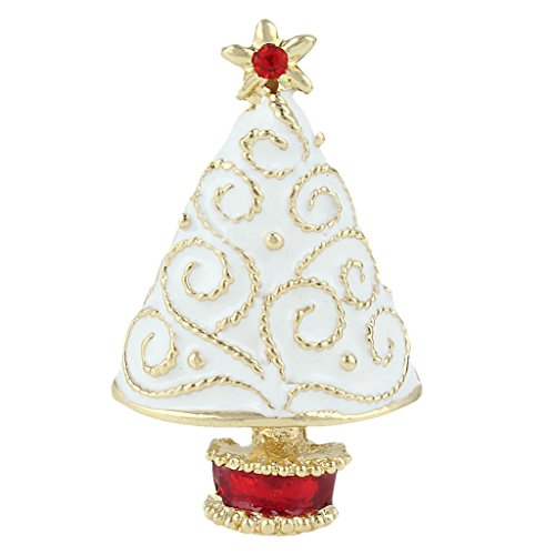 EVER FAITH Star Filigree White Christmas Tree Brooch Clear Austrian Crystal Enamel Gold-Tone
