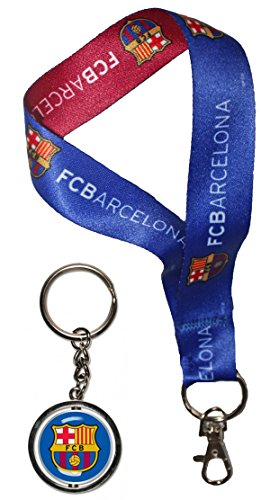 WinCraft Bundle 2 Items: FC Barcelona Key Chain Set 1 Key Strap and 1 Metal - Barcelona Chain Fc