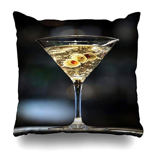 Ahawoso Throw Pillow Cover Square 18x18 Inches Cocktail Vodka Martini On Bar Three Olives Food Drink Shaken Alcohol Alcoholic Bond Design Zippered Cushion Pillow Case Home Decor Pillowcase