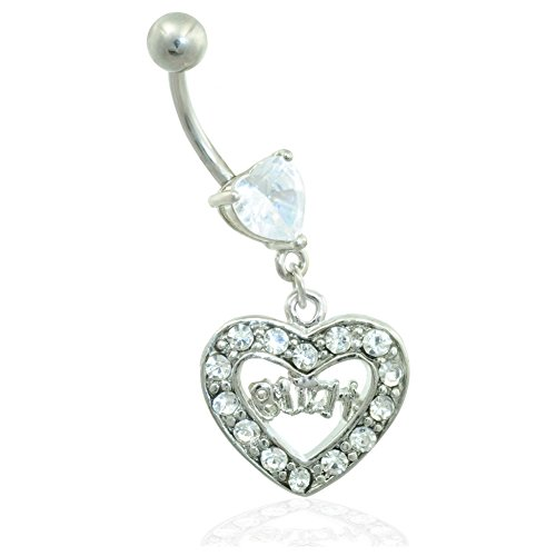 MsPiercing Jeweled Heart Belly Ring With Dangling Heart And