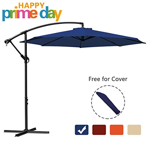 Blue Umbrella Navy Market (10 ft Offset Cantilever Patio Umbrella Outdoor Market Hanging Umbrellas & Crank with Cross Base and Umbrella Cover, 8 ribs (Navy Blue))
