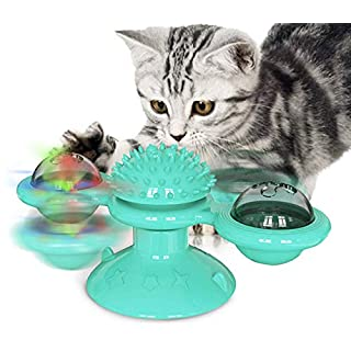 T NEWFUN Interactive Cat Toys for Indoor Cats -Windmill Cat Toy Turntable Teasing with Suction Cup Scratching Tickle Cats Hair Brush Funny Kitten Toys with Catnip and led Ball[Latest 2020]